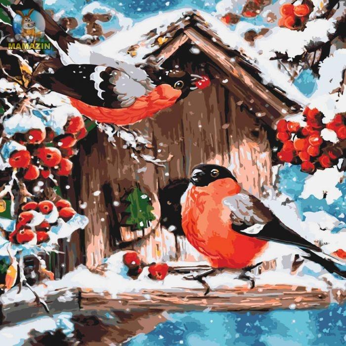 Картины по номерам - Яркие снегири (без коробки) КНО4041 ...